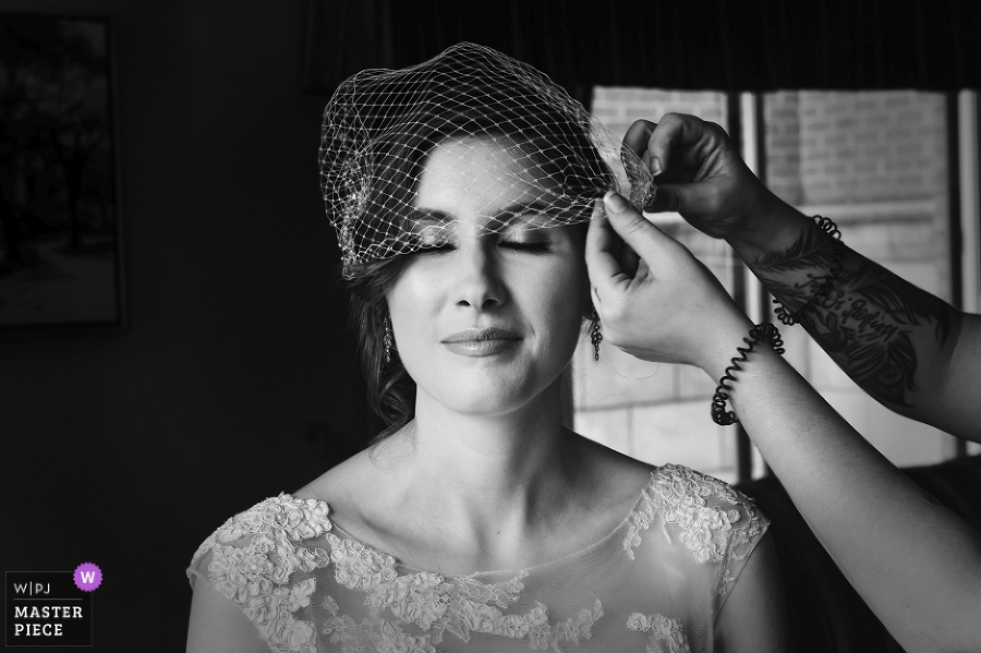 Bride is getting ready on her wedding day